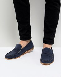 Frank Wright Loafers In Blue Suede