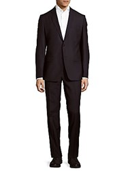 Versace Classic Fit Solid Wool Blend Suit Navy