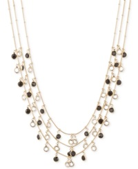 Anne Klein Gold Tone Jet And Glass Stone Three Row Necklace