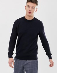 New Look Honeycomb Knit Jumper In Navy
