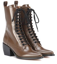 Chloe Rylee Medium Leather Ankle Boots Brown