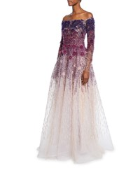 Pamella Roland Off The Shoulder Floral Sequined Ombre Gown Purple Pattern