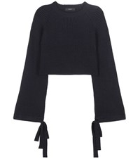 Ellery Merino Wool Cropped Sweater Blue