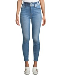 7 For All Mankind High Waist Ankle Skinny Jeans W Double Waistband Blue Pattern