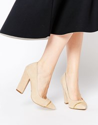 Ravel Block Heeled Court Shoes Beige