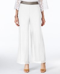 Alfani Metallic Trim Pleated Palazzo Pants Only At Macy's Bright White