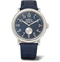 Shinola The Runwell 41Mm Stainless Steel And Leather Watch Navy
