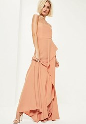 Missguided Nude Crepe Bandeau Frill Maxi Dress