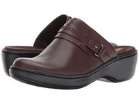 Clarks Delana Amber Dark Brown Leather Clog Shoes