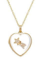 Loquet 14Kt Heart Locket With 18Kt Gold Charm And Diamonds Multicolor