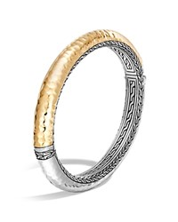 John Hardy Sterling Silver And 18K Bonded Gold Classic Chain Hammered Oval Hinged Bangle Silver Gold
