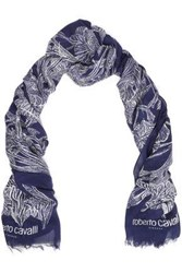 Roberto Cavalli Woman Frayed Floral Print Modal And Cashmere Blend Scarf Navy