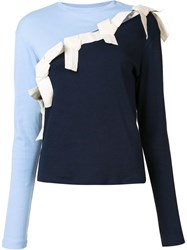 Jacquemus Long Sleeved Bow T Shirt Blue