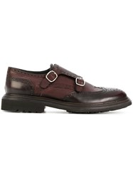 Dell'oglio Cross Strap Monk Shoes Leather Rubber Brown