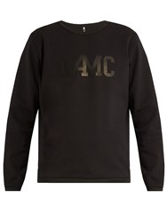 Oamc Logo Printed Crew Neck Cotton Sweater Black