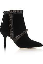 Christopher Kane Leather Trimmed Velvet Ankle Boots