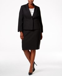 Le Suit Plus Size Three Piece One Button Pinstriped Skirt Black Ivory