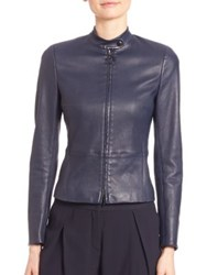 Akris Punto Leather Stand Collar Jacket Navy