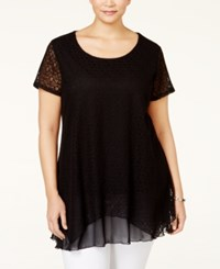 Styleandco. Style And Co. Plus Size Lace Handkerchief Hem Tunic Only At Macy's Deep Black