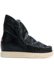 Mou Concealed Heel Boots Leather Sheep Skin Shearling Rubber Black