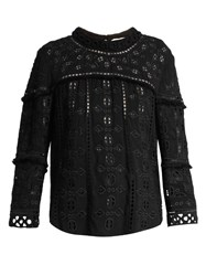 Sea Long Sleeved Lace Top Black