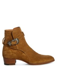 Saint Laurent Suede Ankle Boots Tan