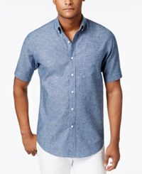 Club Room Men's Big And Tall Chambray Shirt Only At Macy's Navy Blue