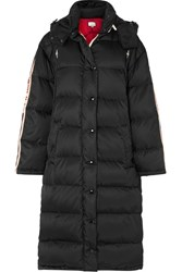 Gucci Oversized Intarsia Trimmed Quilted Shell Down Coat Black