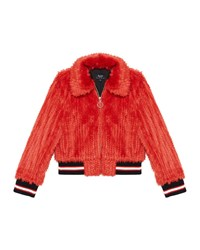 Bardot Queenie Faux Fur Bomber Jacket Size 8 16 Red
