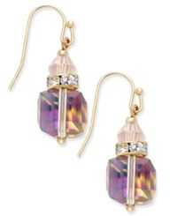 Inc International Concepts Gold Tone Cube Crystal Drop Earrings Only At Macy's