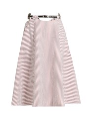Toga Striped Cotton Midi Skirt Red White