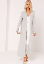Missguided Frayed Hem Duster Coat Grey