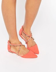 Asos Lux Chain Detail Ballet Flats Hot Coral Pink