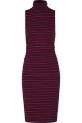 Kain Label Ray Ruched Striped Stretch Jersey Turtleneck Dress Navy