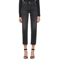Re Done Black High Rise Stove Pipe Jeans