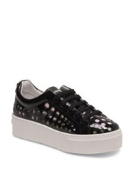 Kenzo K Lace Patent Leather Platform Sneakers White