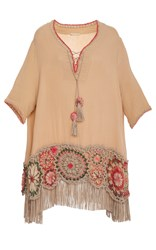 Anjuna Carolina Crochet Fringe Tunic Tan