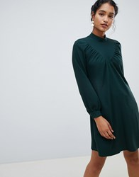 Closet London Long Sleeve Shirt Dress Dark Green