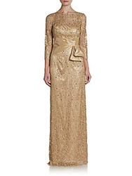 Teri Jon Sequined Lace Gown Gold