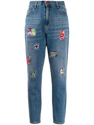 History Repeats Beaded Patch High Rise Slim Jeans Blue