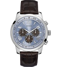 Guess Horizon Stainless Steel And Leather Watch W0380g6