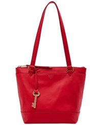 Fossil Gifting Solid Leather Small Shopper Real Red
