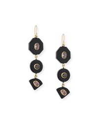 Ashley Pittman Zambarau Dark Horn Three Drop Earrings Brown Red