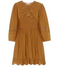Ulla Johnson Ailey Cotton And Linen Dress Brown