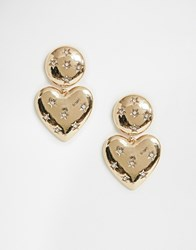 New Look Dimpled Vintage Heart Earrings In Gold
