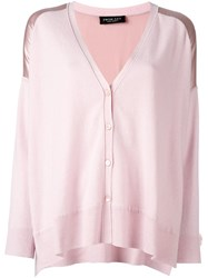 Twin Set Loose Fit V Neck Cardigan Pink And Purple