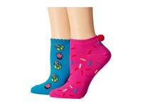 Betsey Johnson Cake Dreams Wtih Pom Pom No Show Sock 2 Pack Pink Turquoise Women's No Show Socks Shoes