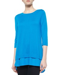 Neiman Marcus Cashmere Collection 3 4 Sleeve Chiffon Trim Sweater Women's