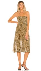 Lovers Friends Marcus Midi Dress In Brown. Cheetah Print