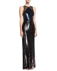 Diane Von Furstenberg Sequined Panel High Neck Sleeveless Gown Blue Black Multi Pattern